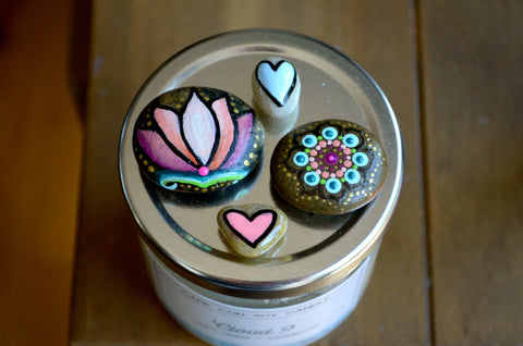 Fridge Magnet Set, Painted Rock Magnets, Lotus Flower Magnet, Mini Mandala Magnet, Hearts