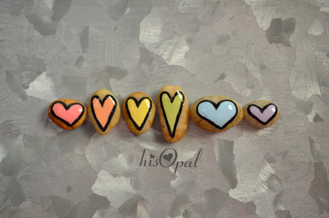 Fridge Magnet Set, Painted Rock Hearts, Mini Pastel Rainbow Heart Magnets, Refrigerator Magnets