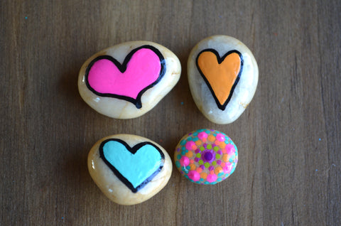 Cute Fridge Magnets, Hand Painted Rock, Mini Heart Magnets, 4 Refrigerator Magnets, Kitchen Decor