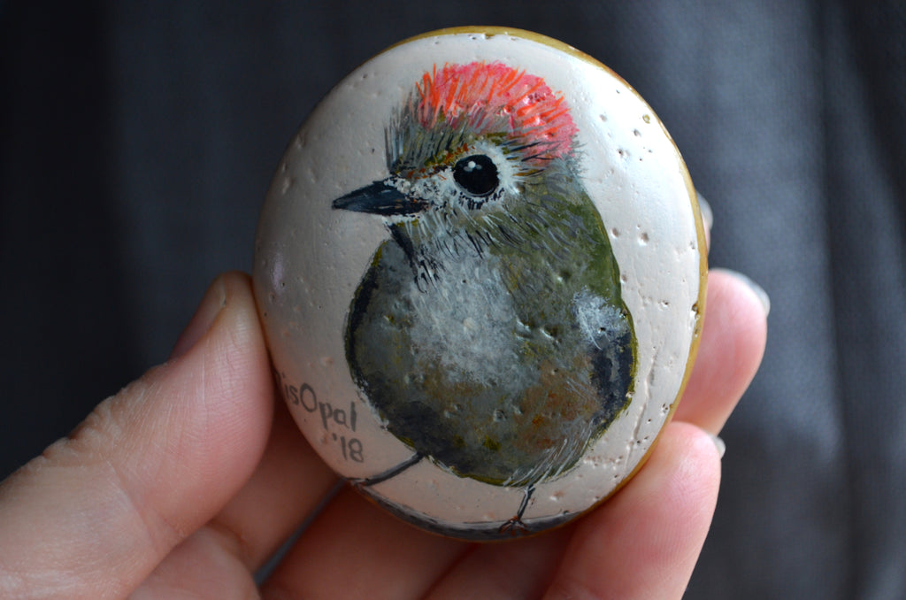 Ruby Crowned Kinglet Bird, Hand Painted Rock, Unique Gift, Bird Watcher Gift