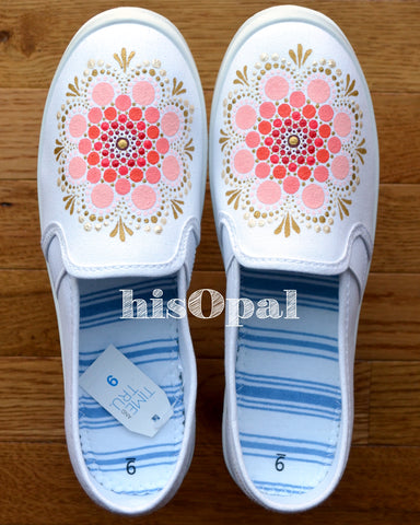 Mandala Canvas Shoes, Painted Shoes, Slip On Shoes, Hand Painted Sneakers Women's Size 9