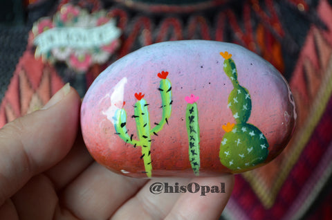 Painted Cactus Rock, Desktop Decor, Cactus Art, Hand Painted Rock Art, Southwestern Decor Art, Desert Cacti, Cactus Decor Art, Cacti Art