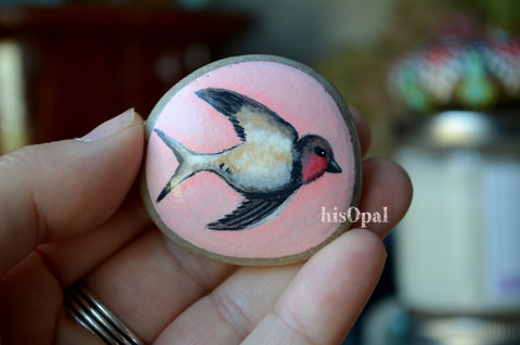 Bird Fridge Magnet, Painted Rock Magnet, Nature Lover Gift, Refrigerator Magnet, Swallow