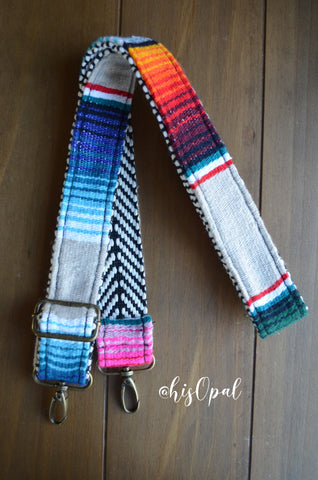 "Hand Made Purse Strap, ""Mexico"" Chevron Back, Adjustable Strap, 24 to 41.5 inches"