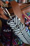 Hand Made Purse Strap, Black and White Chevron, Adjustable Cross Body Strap, 25 to 43 inches