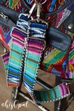 "Hand Made Backpack Straps, ""Baja"" Black and White Chevron Back, purse strap"