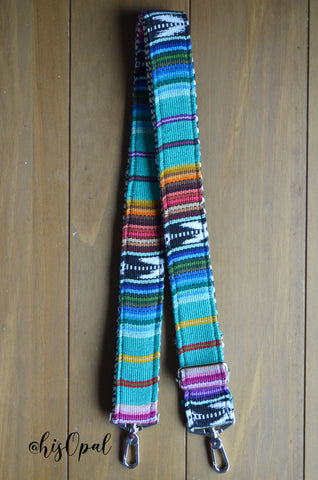 "Hand Made Purse Strap, ""Baja"" Chevron Back, Extra Long Adjustable Strap, 33.5 to 60 inches"