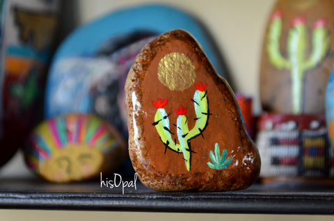Painted Rock Desert, Cactus Decor, Cactus Rock, Hand Painted Rock, Saguaro Cactus Gift
