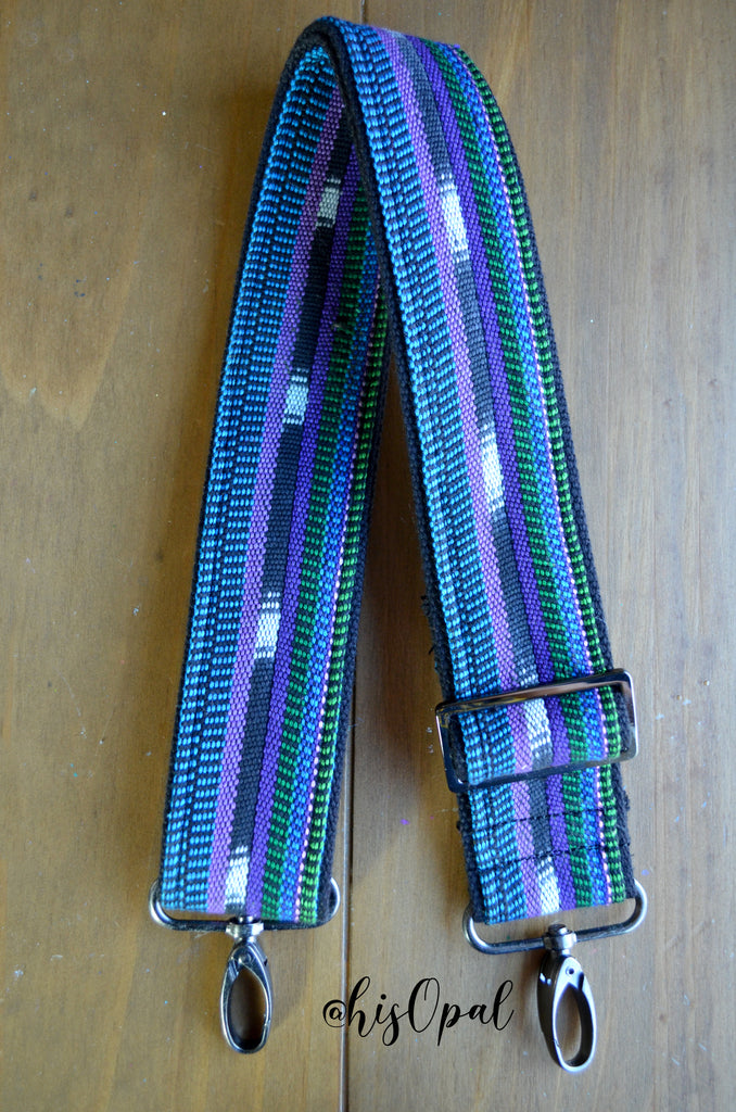 "Hand Made Purse Strap, ""Blue, Green, Purple"" Black Back, Adjustable Strap, 25.5 to 43 inches"
