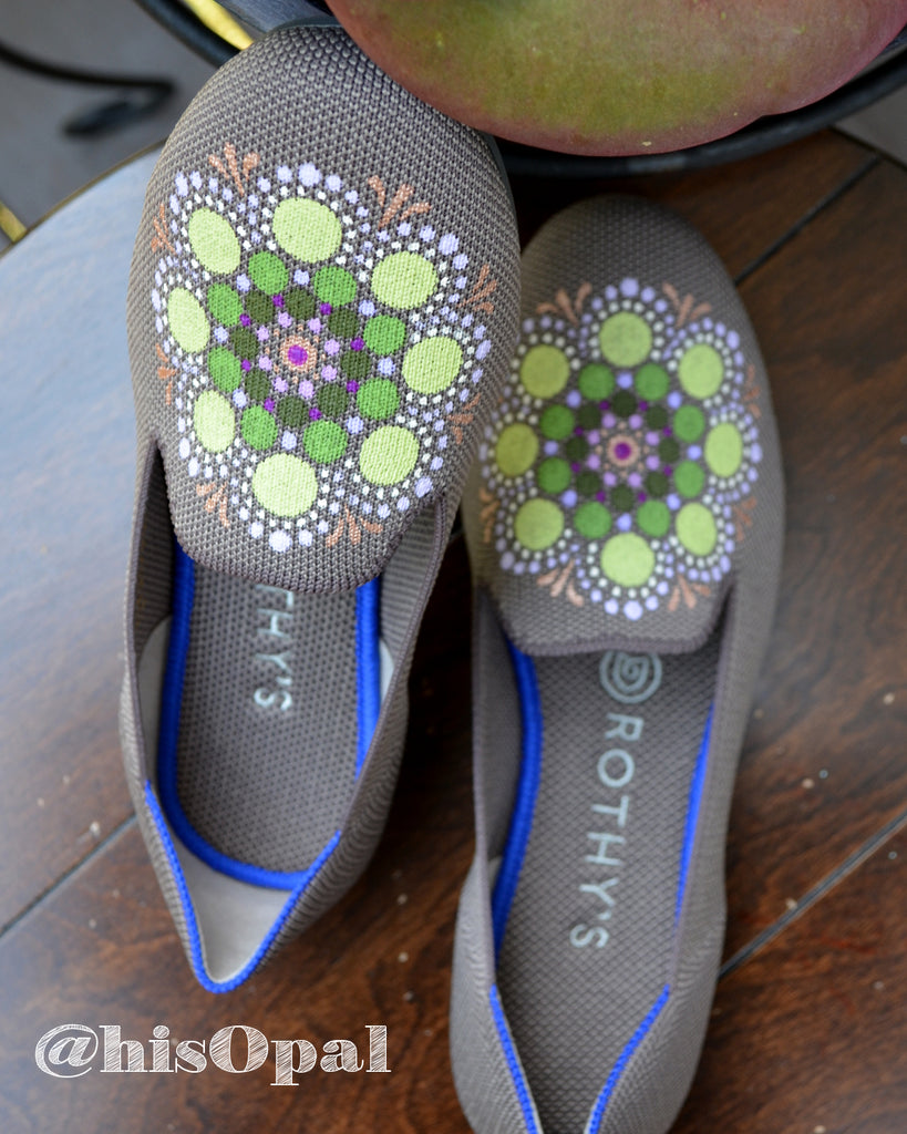 Hand Painted Mandala Shoes, Painted Shoes, Slip On Loafers, Fits Size 6 - 6.5 Rothy's (canvas section)