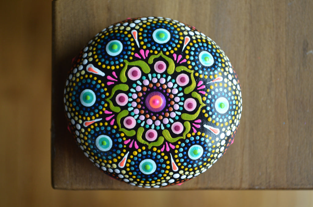 Neon Mandala Stone, Hand Painted Rock, Prayer Rock, Wedding Gift Mandala, Boho Decor