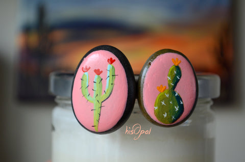 Cactus Fridge Magnets, Painted Rock Magnets, Mini Cactus Magnets, Refrigerator Magnets, Kitchen Decor
