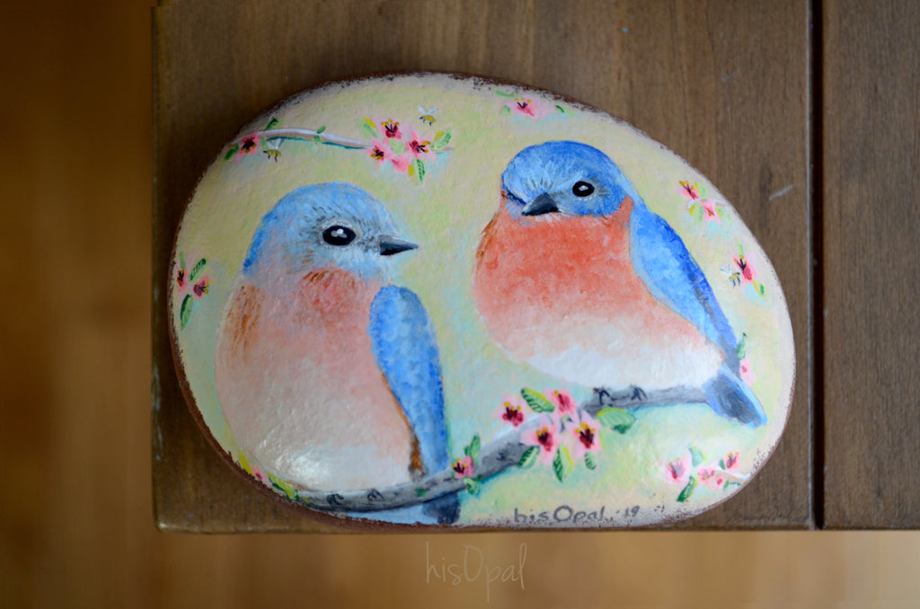Bird Painted Rock, Hand Painted Stone, Bird Watching, Bird Art, Eastern Bluebird couple