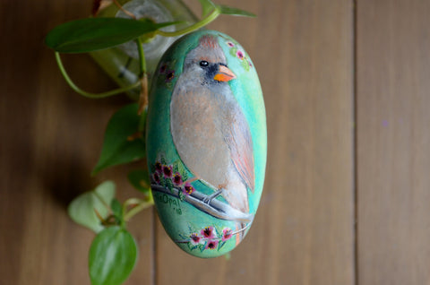 Female Cardinal, Hand Painted Rock, Unique Gift, Bird Watcher Gift, Painted Stone Art