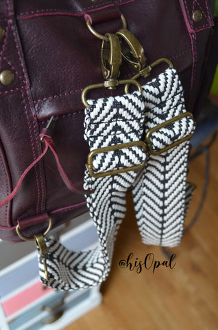 SMALL Hand Made Backpack Straps, Black and White Chevron, adjustable straps, purse strap