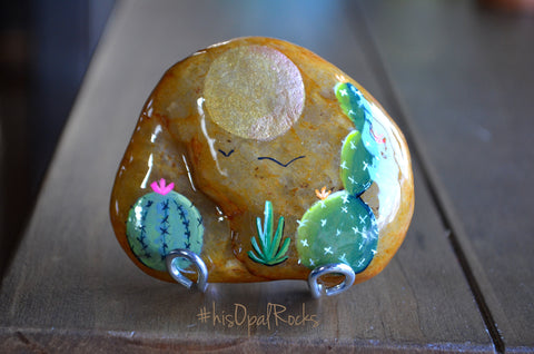 Painted Cactus Rock, Desktop Decor, Cactus Art, Hand Painted Rock Art, Stand Included, Resin Coated