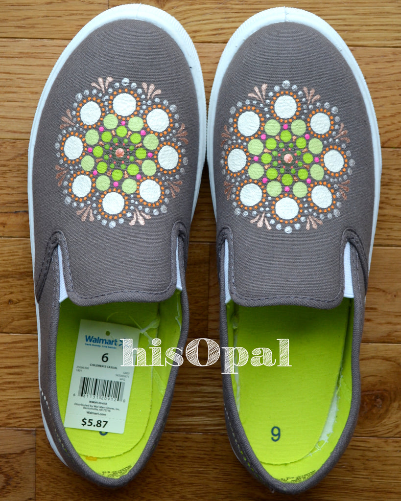 Grey Mandala Canvas Shoes, Original Art, Painted Shoes, Slip On Shoes, Hand Painted Sneakers Size 8