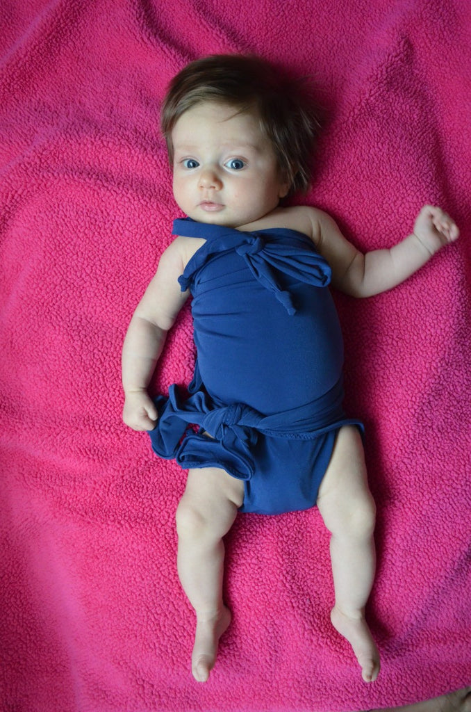 Baby Bathing Suit Solid Navy Blue Wrap Around Swimsuit Infant Tie On Swimwear Newborns Toddler 3 - hisOpal Swimwear - 1