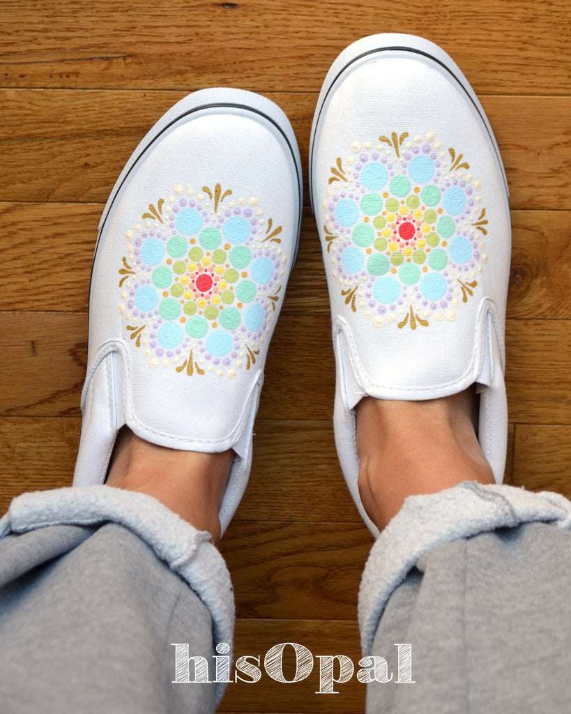 Pastel Rainbow Mandala Canvas Shoes, Painted Shoes, Slip On Shoes, Hand Painted Sneakers Size 9