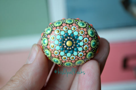 Small Mandala Stone, Painted Rock, Teal and Coral, Hand Painted Stone, Boho Decor