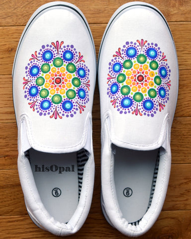 Bright Rainbow Mandala Canvas Shoes, Painted Shoes, Slip On Shoes, Hand Painted Sneakers Size 9