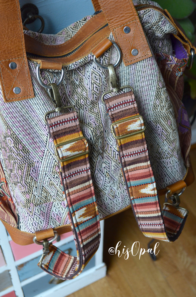 "Hand Made Backpack Straps, ""Esperanza"" Brown Back, purse strap"