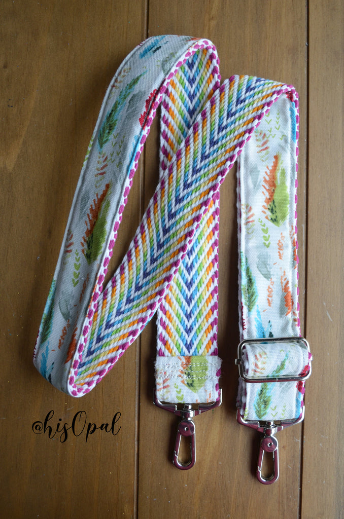 Hand Made Adjustable Purse Strap, Feathers, Rainbow Chevron Back, 24 to 41 inches