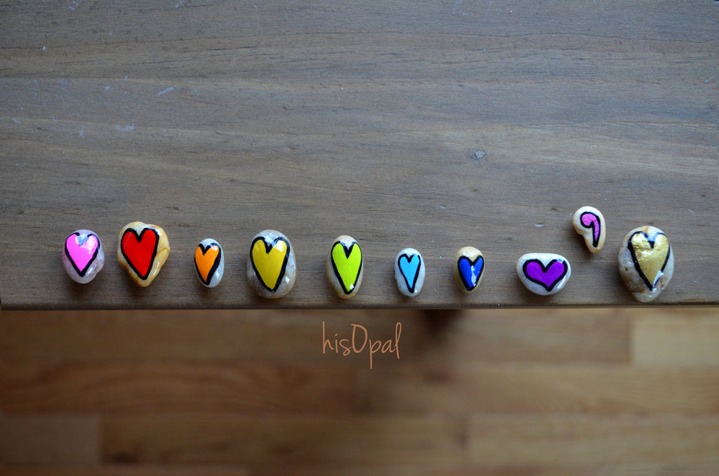 Fridge Magnet Set, Painted Rock Hearts, Mini Hearts Magnet Set, Refrigerator Magnets