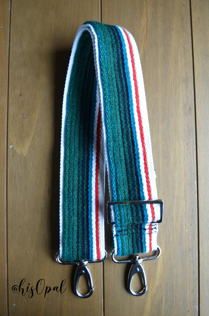 "Hand Made Purse Strap, 2 inch wide, ""Mexico"" Black and White Striped Back, Adjustable Strap, 24 to 41 inches"