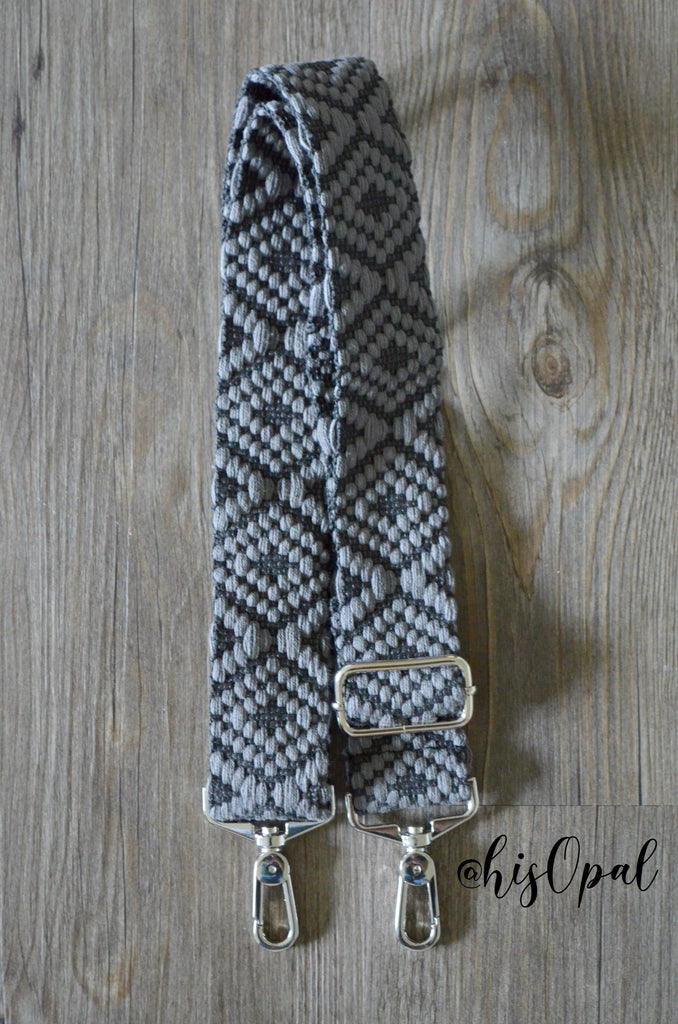 Hand Made Purse Strap, Grey Diamond, Adjustable Strap, 25 to 43.5 inches