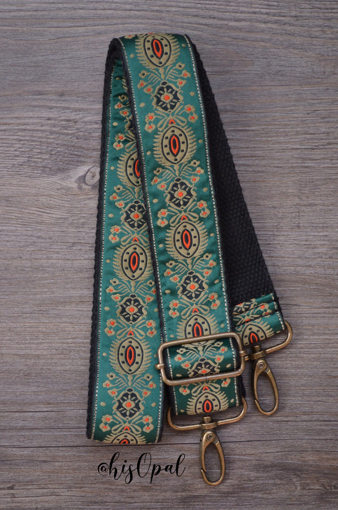Hand Made Adjustable Purse Strap, Hunter Green Black Back, 24.5 to 42.5 inches