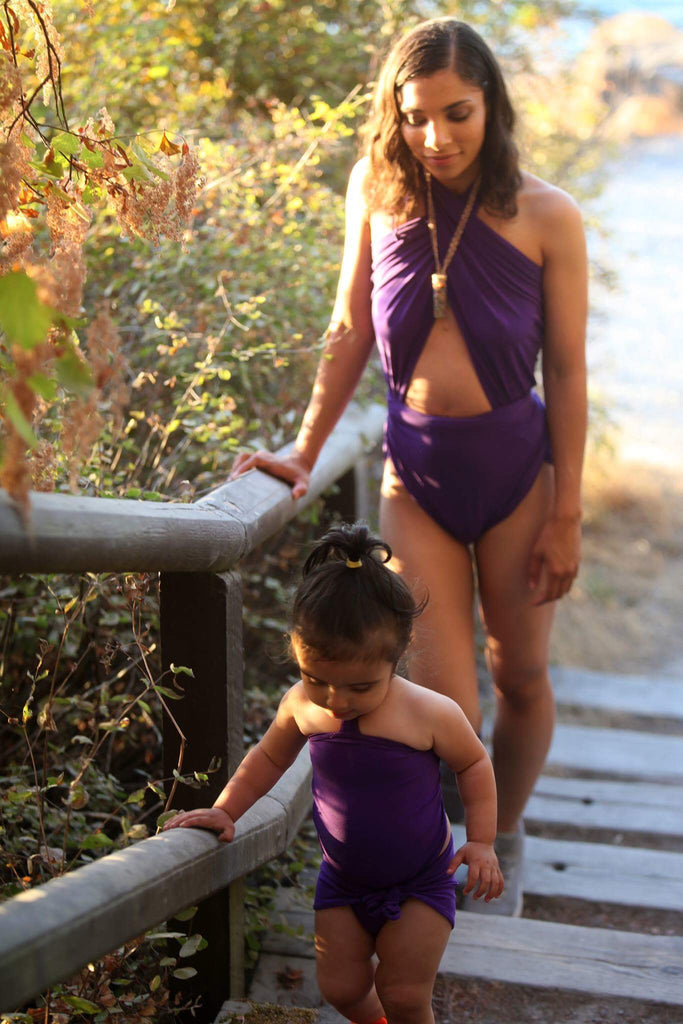 Medium Bathing Suit Purple Wrap Around Swimsuit Modest Womens, Teen and Maternity Swimwear