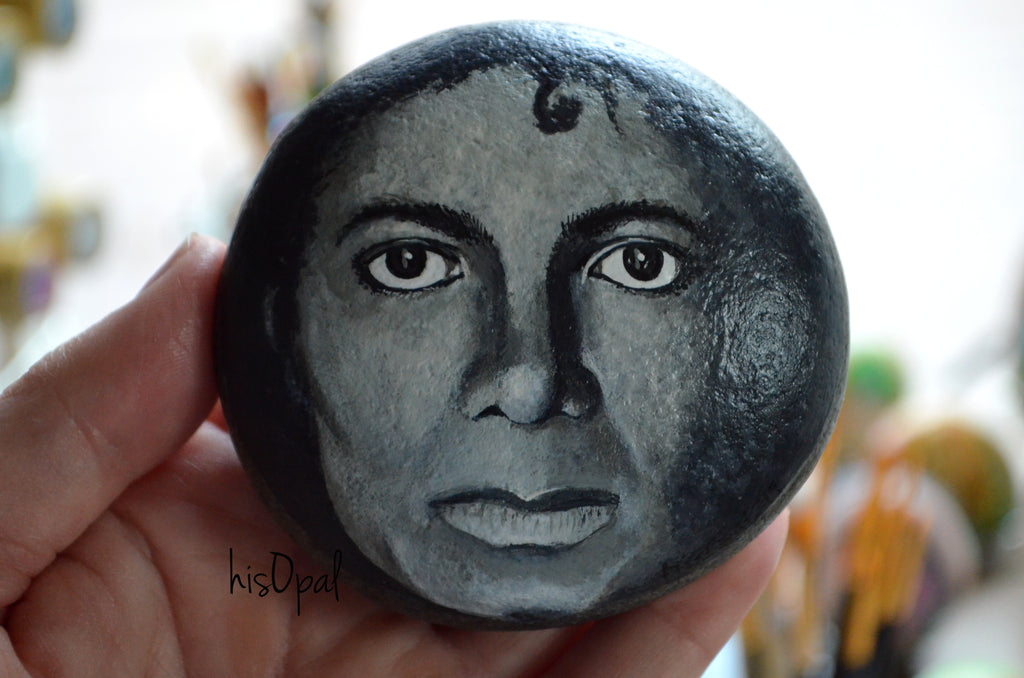 Painted Portrait Rock, Hand Painted Rock, Michael Jackson Portrait, King of Pop