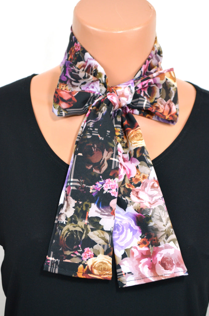 Womens Neck tie Nicole Miller Fabric Floral Print Neck Scarf Head Wrap Ascot