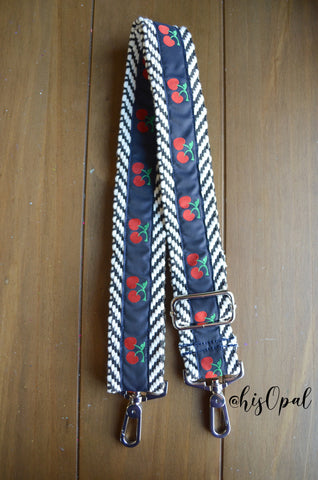 "Hand Made Purse Strap, ""Navy Cherries"" Chevron Back, Adjustable Strap, 25.5 to 44 inches"