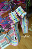 Hand Made Backpack Straps, Rainbow Chevron, adjustable straps, purse strap