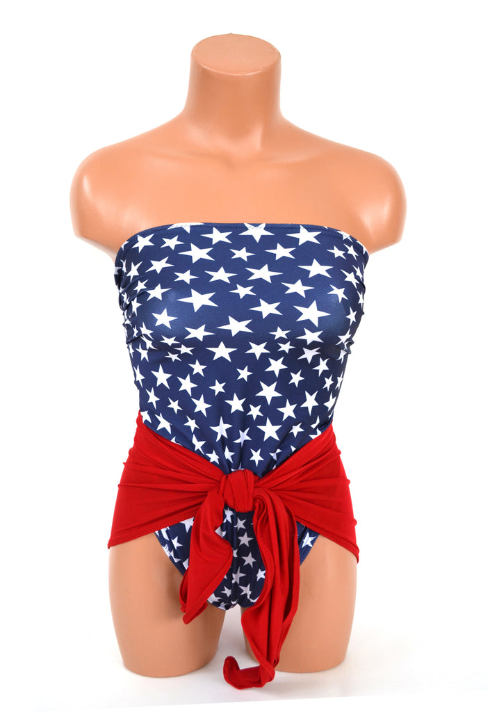 Small Bathing Suit Americana Swimwear Navy Blue w/ White Stars and True Red Wrap Around Swimsuit - hisOpal Swimwear - 1