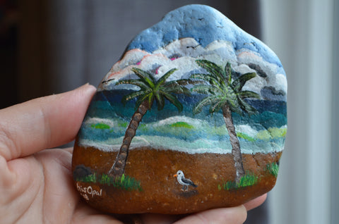 Painted Rock Beach, Hand Painted Rock, Beach Decor, Palm Trees and Seagulls, Nautical Decor