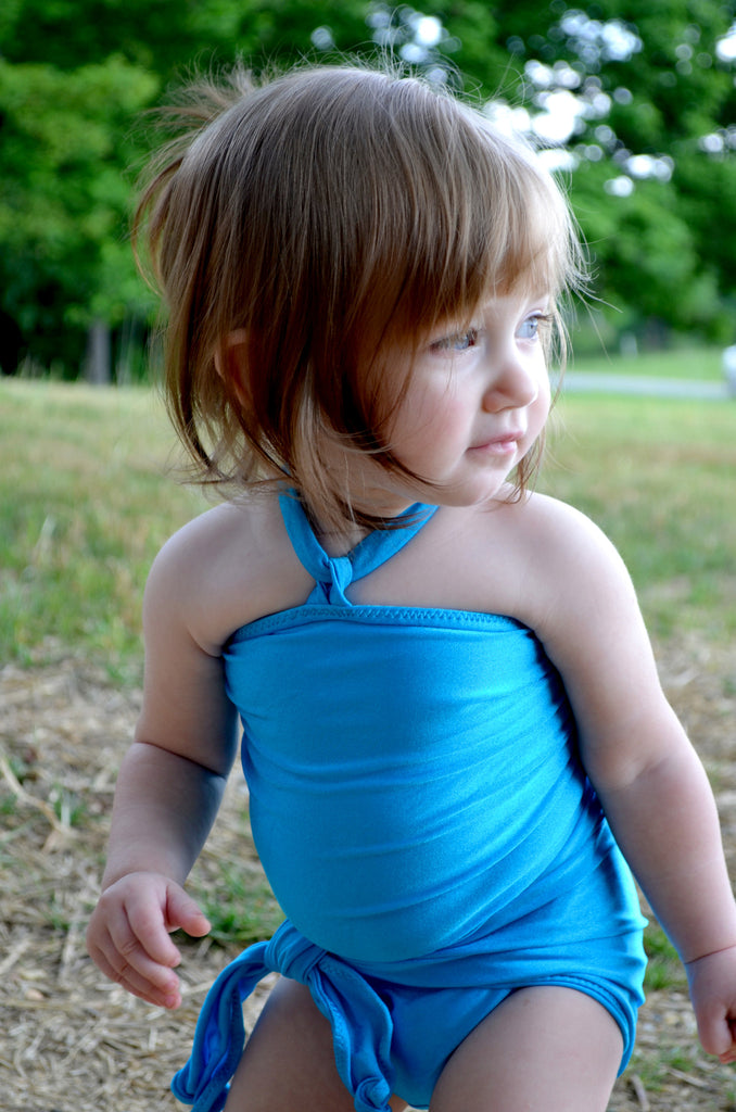 Baby Bathing Suit Aqua Blue Wrap Around Swimsuit Young Toddler Girls Swimwear - hisOpal Swimwear - 1