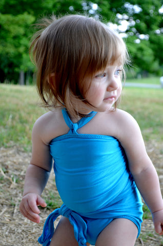Baby Bathing Suit Aqua Blue Wrap Around Swimsuit Young Toddler Girls Swimwear