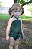 Girls Bathing Suit Army Green Wrap Around Swimsuit Toddler Swimsuit Girls Swimwear One Size Swimsuit - hisOpal Swimwear - 4