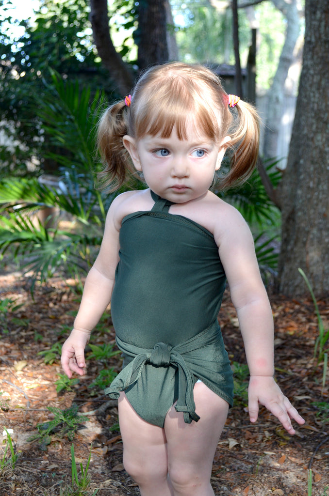 Girls Bathing Suit Army Green Wrap Around Swimsuit Toddler Swimsuit Girls Swimwear One Size Swimsuit - hisOpal Swimwear - 1