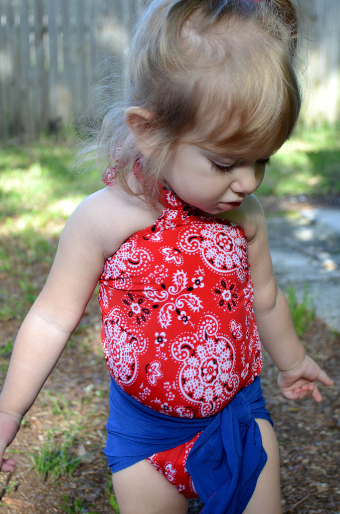 Baby Bathing Suit Red Bandana and Royal Blue Wrap Around Swimsuit Girls Swimwear Toddler Swimsuit - hisOpal Swimwear - 1