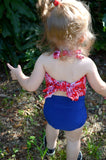 Baby Bathing Suit Red Bandana and Royal Blue Wrap Around Swimsuit Girls Swimwear Toddler Swimsuit - hisOpal Swimwear - 3