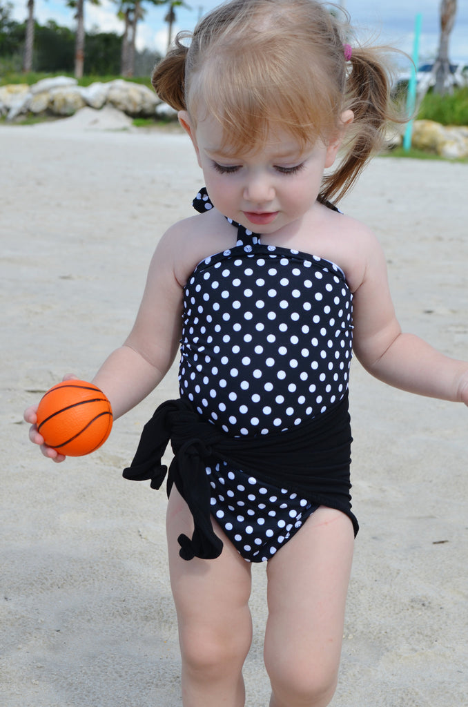 Baby Bathing Suit Black with White Polka Dots Wrap Around Swimsuit Girls Swimwear One Wrap - hisOpal Swimwear - 1