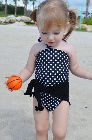Baby Bathing Suit Black with White Polka Dots Wrap Around Swimsuit Girls