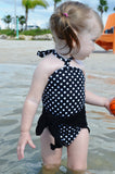 Baby Bathing Suit Black with White Polka Dots Wrap Around Swimsuit Girls Swimwear One Wrap - hisOpal Swimwear - 3