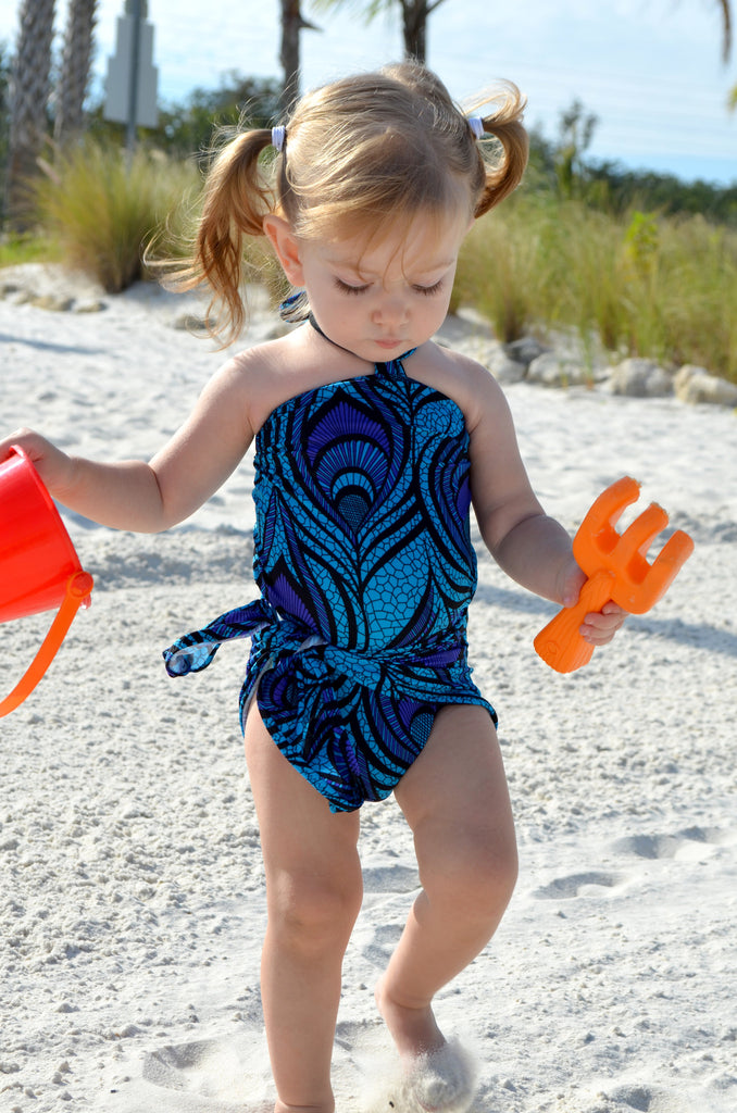 Baby Bathing Suit Blue Peacock Print One Wrap Girls Swimsuit Toddler Infant One Size Swimwear - hisOpal Swimwear - 1