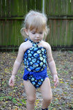 Baby Bathing Suit Royal Blue and Blue Skulls Wrap Around Swimsuit Newborn Toddler One Size Tie On - hisOpal Swimwear - 2