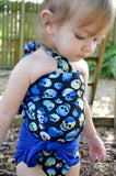 Baby Bathing Suit Royal Blue and Blue Skulls Wrap Around Swimsuit Newborn Toddler One Size Tie On - hisOpal Swimwear - 4